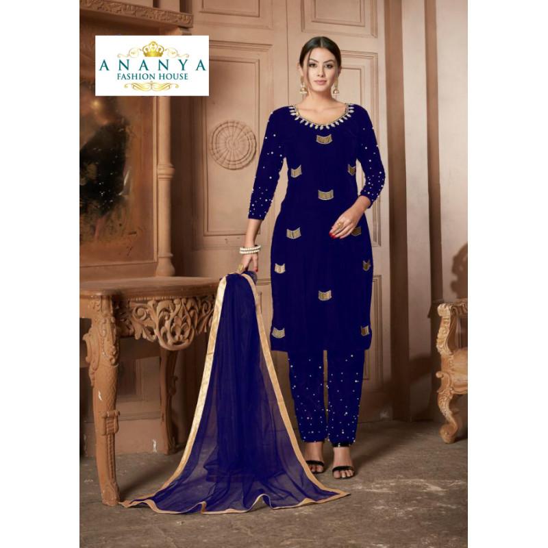 Exotic Dark Blue Velvet Salwar kameez