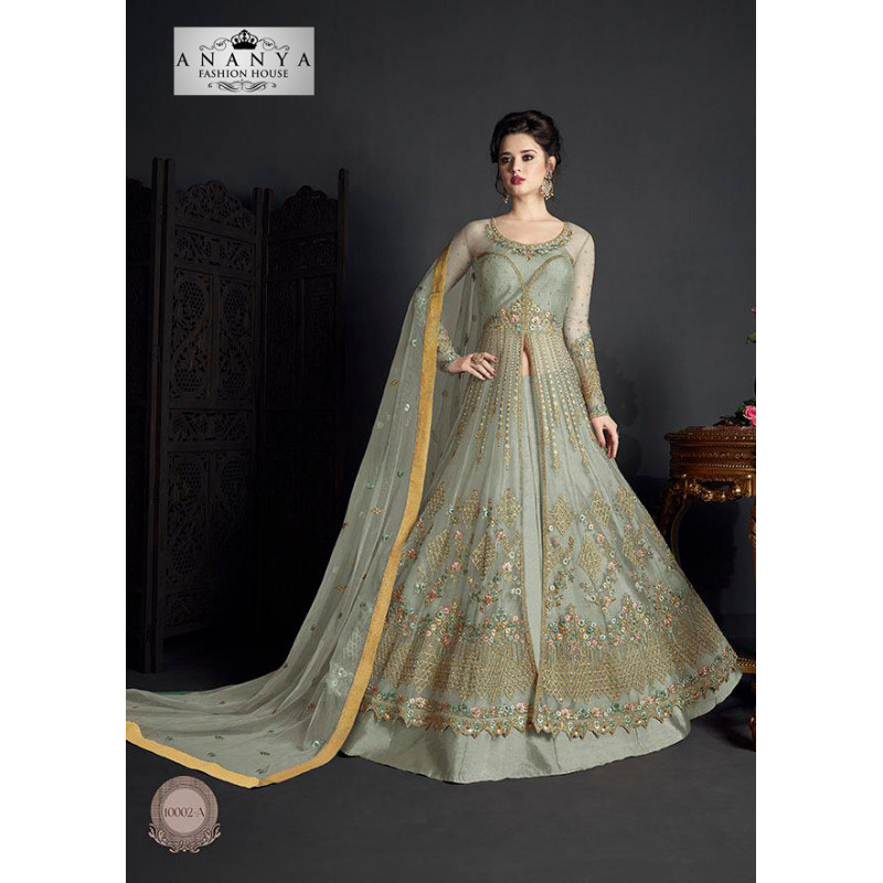 Incredible Grey Net- Santoon Salwar kameez
