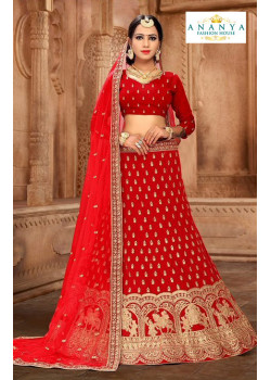 Enigmatic Red color Satin Silk Wedding Lehenga