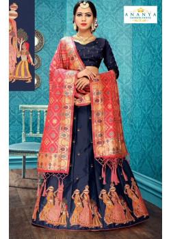 Classic Dark Blue color Satin Silk Designer Lehenga