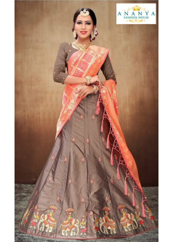 Adorable Light Brown color Satin Silk Designer Lehenga