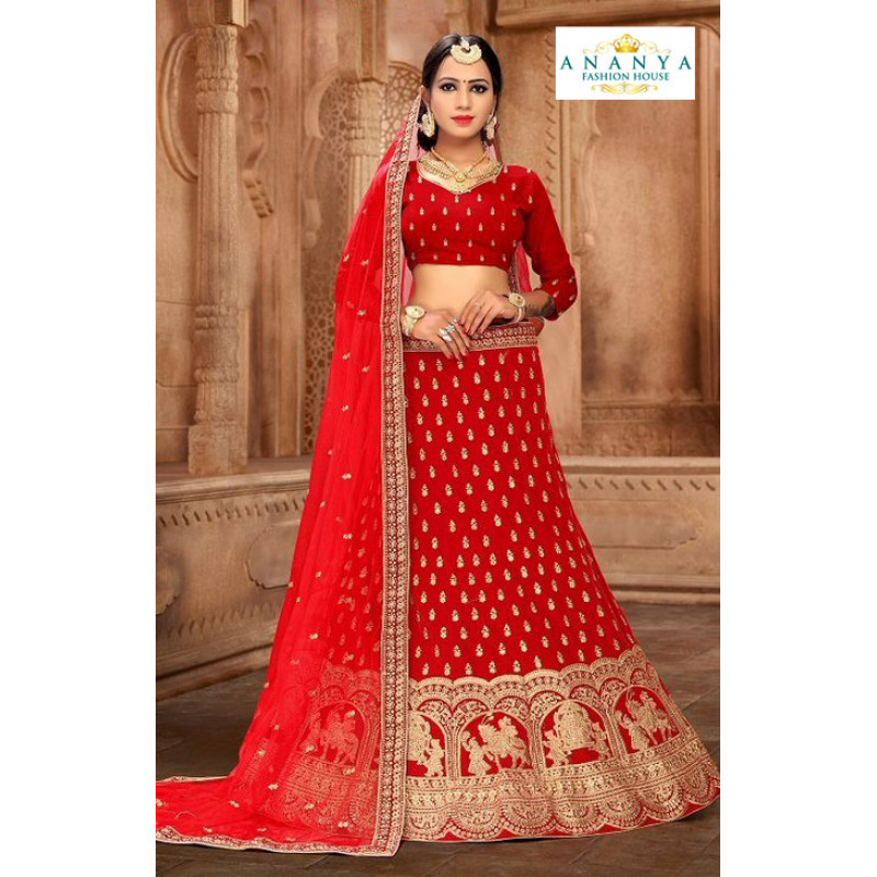 Enigmatic Red color Satin Silk Wedding Lehenga