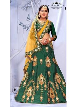 Incredible Bottle Green color Satin Silk Designer Lehenga