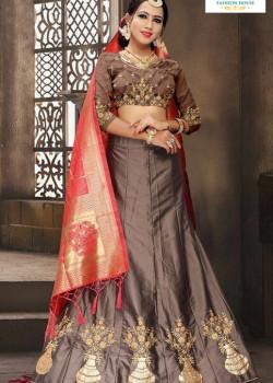 Melodic Grey color Satin Silk Designer Lehenga