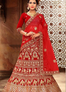 Plushy Red color Satin Silk Wedding Lehenga