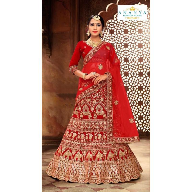 Plushy Red color Satin Silk Wedding Lehenga