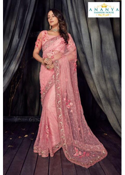 Classic Pink Net Saree with Pink Blouse