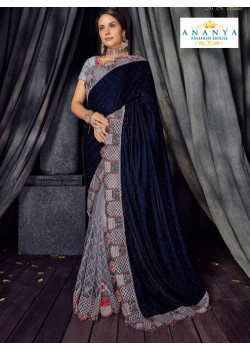 Enigmatic Grey- Dark Blue Velvet- Net Saree with Grey Blouse
