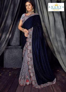 Enigmatic Grey- Dark Blue Velvet- Net Saree with Grey Blouse
