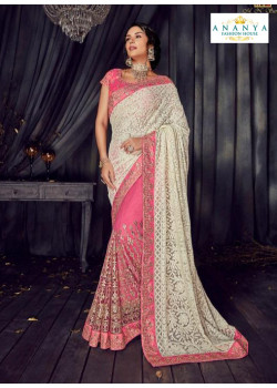Incredible Pink- White Luknowi Saree with Pink Blouse