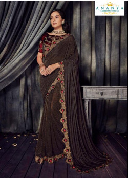 Melodic Copper Georgette   Saree with Maroon Blouse