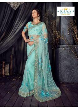 Plushy Light Blue Net Saree with Light Blue Blouse