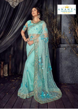 Plushy Light Blue Net Saree with Light Blue Blouse