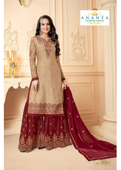 Incredible Beige Georgette Satin Salwar kameez