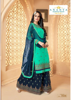 Classic Light Blue Georgette Satin Salwar kameez