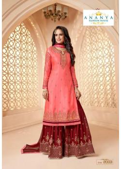 Enigmatic Pink Georgette Satin Salwar kameez