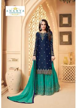 Plushy Dark Blue Georgette Satin Salwar kameez