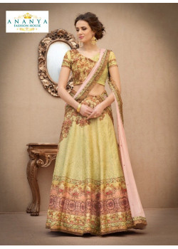 Divine Light Yellow color Banarasi Silk Designer Lehenga
