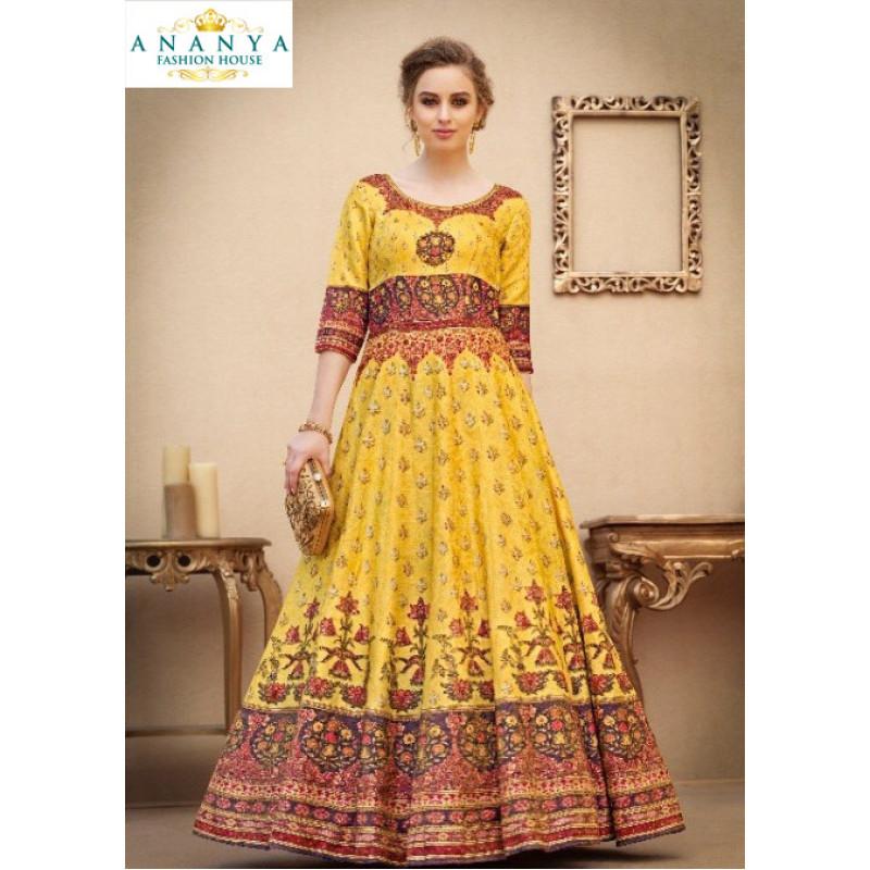 Charming Yellow color Banarasi Silk Designer Lehenga