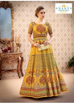 Luscious Mustard color Banarasi Silk Designer Lehenga
