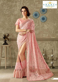 Dazzling Pink Lycra- Net Saree with Pink Blouse