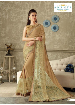 Gorgeous Beige Lycra Saree with Beige Blouse