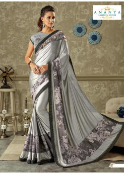 Incredible Silver   Lycra Saree with Grey Blouse