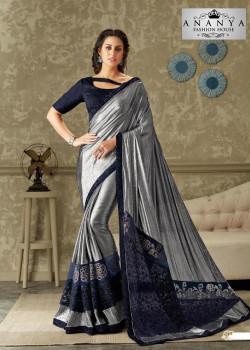 Adorable Blue- Silver Lycra Saree with Dark Blue Blouse