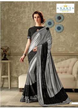 Charming Silver- Black Lycra Saree with Black Blouse