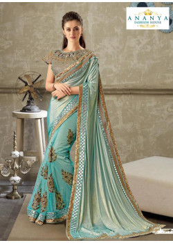 Classic Metallic Blue Lycra- Net Saree with Multicolor Blouse