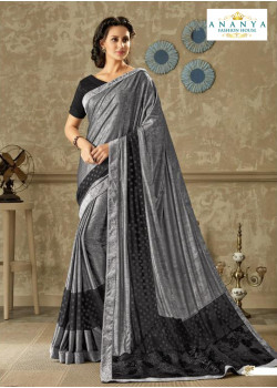 Divine Grey Lycra Saree with Black Blouse