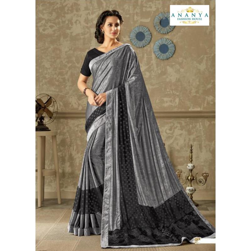 Divine Grey Lycra Saree with Black Blouse