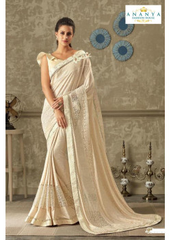 Enigmatic Off White Lycra Saree with Off White Blouse