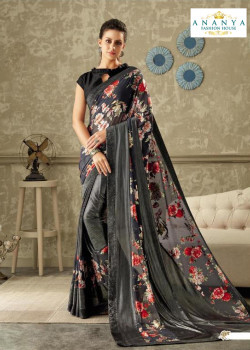 Exotic Dark Grey Lycra Saree with Black Blouse