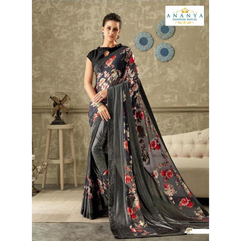 Exotic Dark Grey Lycra Saree with Black Blouse