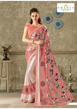 Flamboyant Pink Lycra Saree with Pink Blouse