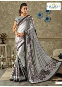 Incredible Silver   Lycra Saree with Grey Blouse