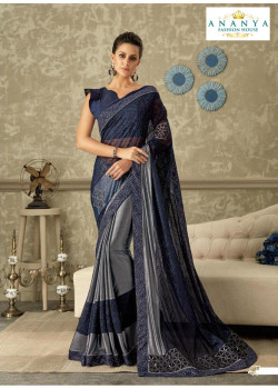 Luscious Grey- Blue Lycra Saree with Dark Blue Blouse