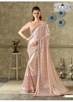 Luscious Pastel Pink Lycra- Net Saree with Metallic Pink Blouse