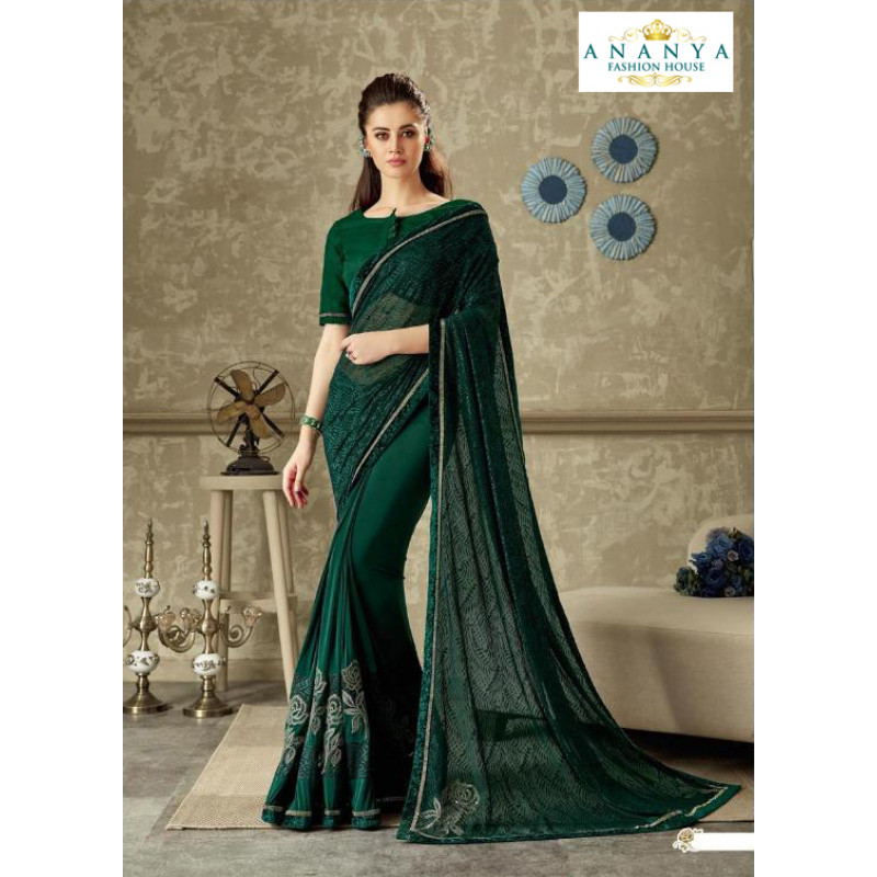 Melodic Bottle Green Lycra Saree with Bottle Green Blouse