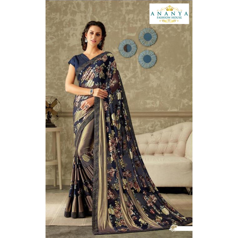Melodic Multicolor Lycra Saree with Dark Blue Blouse