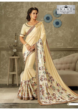 Melodic Off White Lycra Saree with Off White Blouse