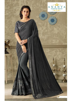 Plushy Dark Grey Lycra Saree with Grey Blouse