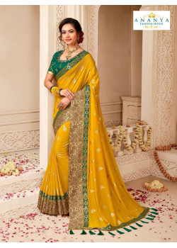 Dazzling Mustard Banarasi Silk Saree with Rama Green Blouse