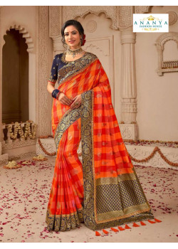 Melodic Multicolor Banarasi Silk Saree with Dark Blue Blouse