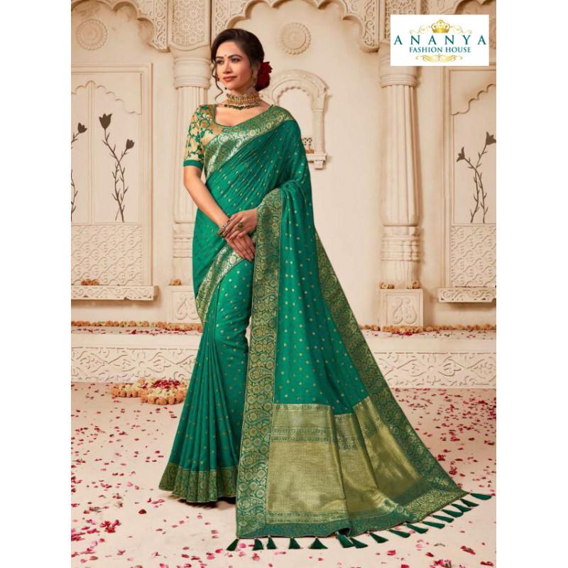 Divine Sea Green Banarasi Silk Saree with Off White Blouse