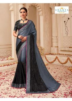 Enigmatic Grey- Black Banarasi Silk Saree with Black Blouse
