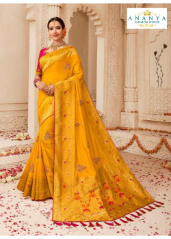 Exotic Yellow Banarasi Silk Saree with Magenta Blouse