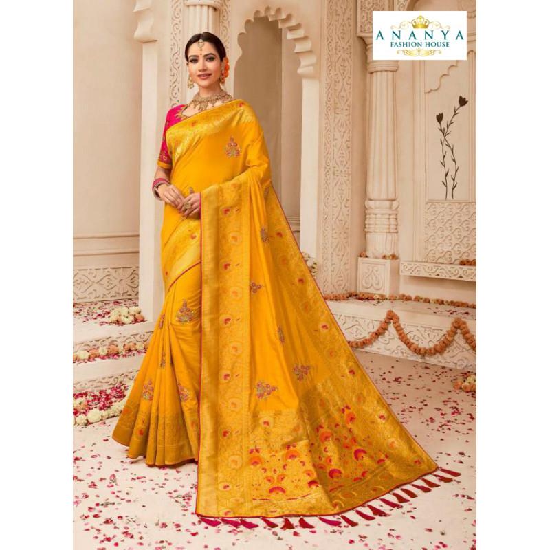 Exotic Yellow Banarasi Silk Saree with Magenta Blouse