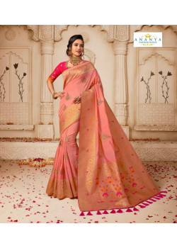 Gorgeous Light Pink Banarasi Silk Saree with Magenta Blouse